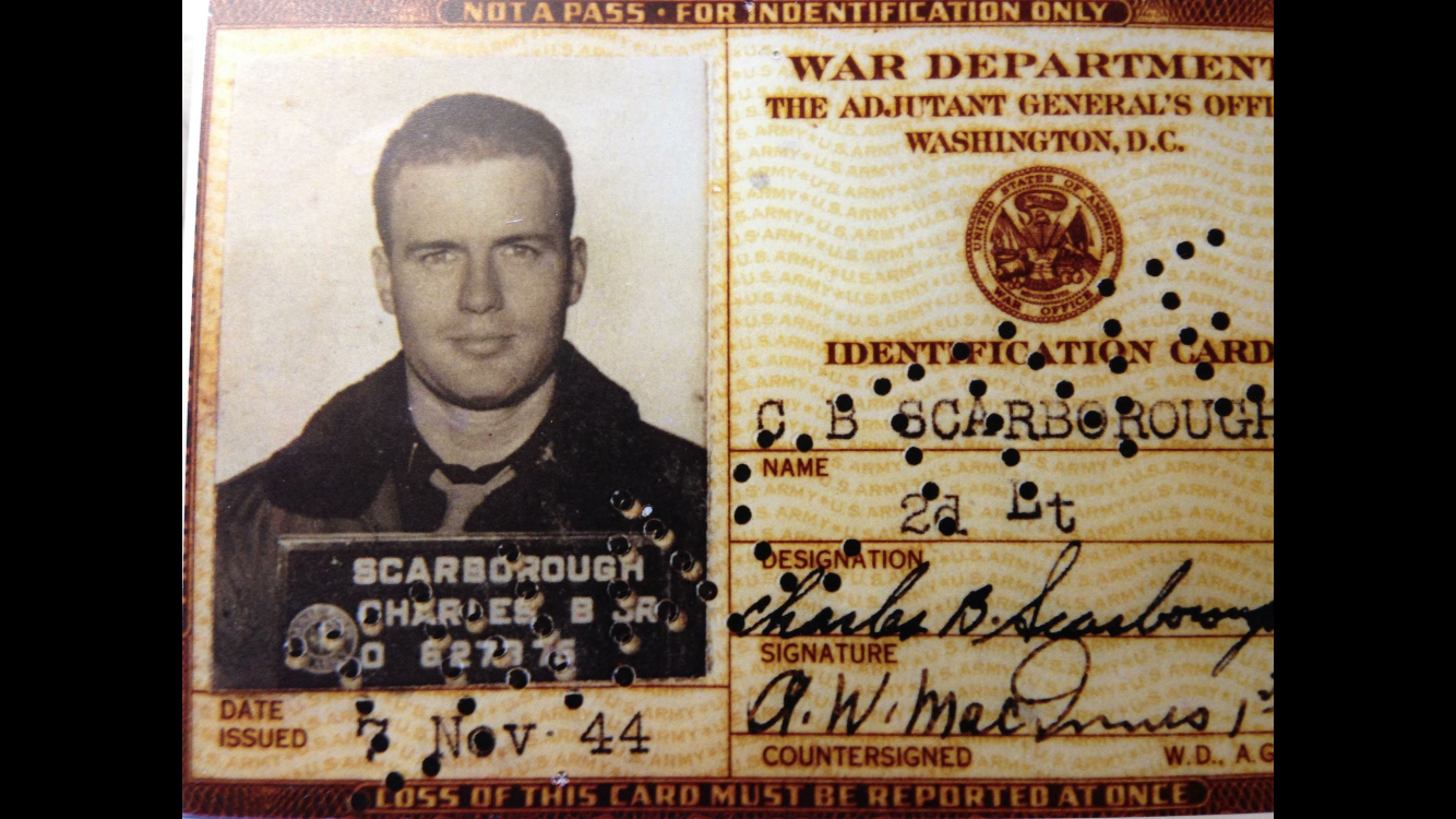 The World War III Military ID for Chuck Scarborough's father,from the U.S. War Department.