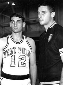 Krzyzewski and his mentor, Texas Tech's Bobby Knight, K's coach at West Point. Photo Credit: U.S. Military Academy Sports Information Office