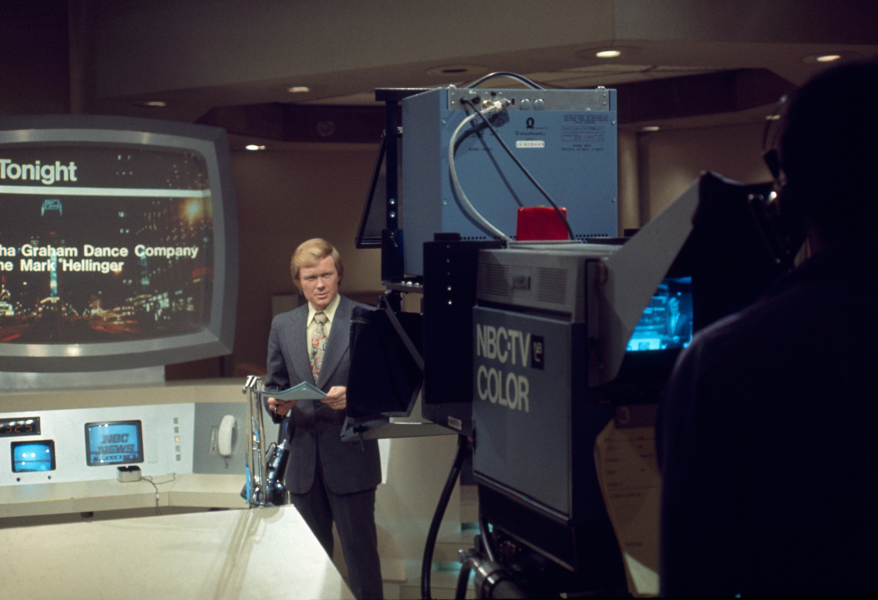 Scarborough new on the set at WNBC in New York, 1974.