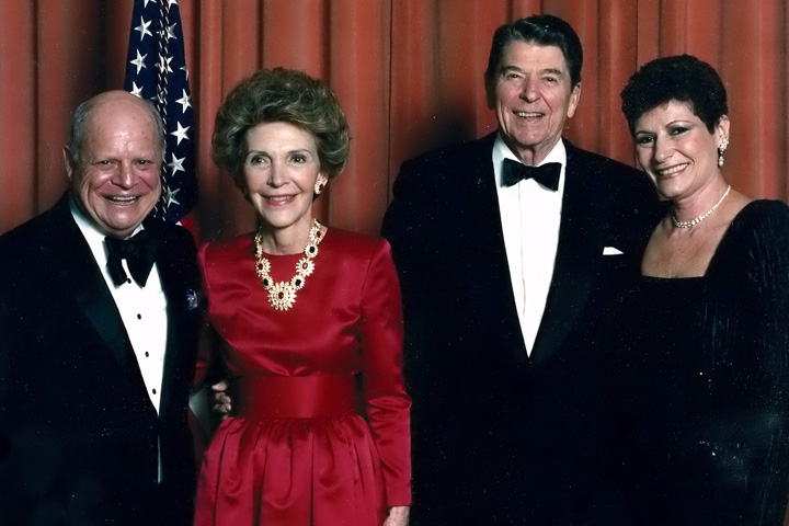 Don Rickles and his spouse Barbara (right) with President Reagan and First Lady Nancy Reagan