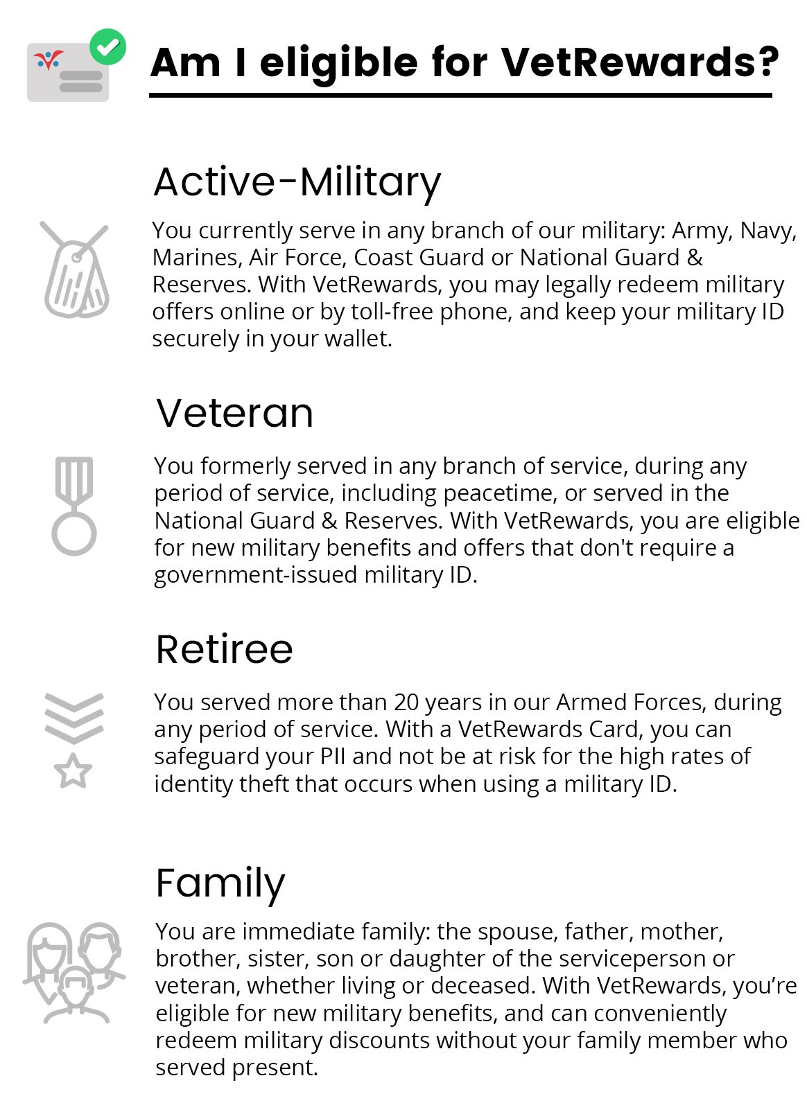 Active-military, veterans, retirees and their family members are all eligible for VetRewards!