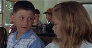 "Photo of Michael Conner Humphreys, who portrays Young Forrest Gump, from ""Forrest Gump"" (1994). Included in Photo is Hanna Hall (Young Jenny Curran)."
