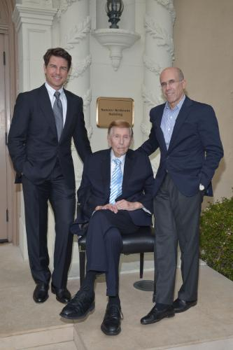 Tom Cruise (left), a longtime supporter of the Motion Picture & Television Fund (MPTF), joins Chairman of the MPTF Foundation, Jeffrey Katzenberg (right), and Sumner Redstone (center) as he grants a $20 Million gift from the Sumner M. Redstone Charitable Foundation to the MPTF Campaign at (Photo: PRNewsFoto/MPTF)