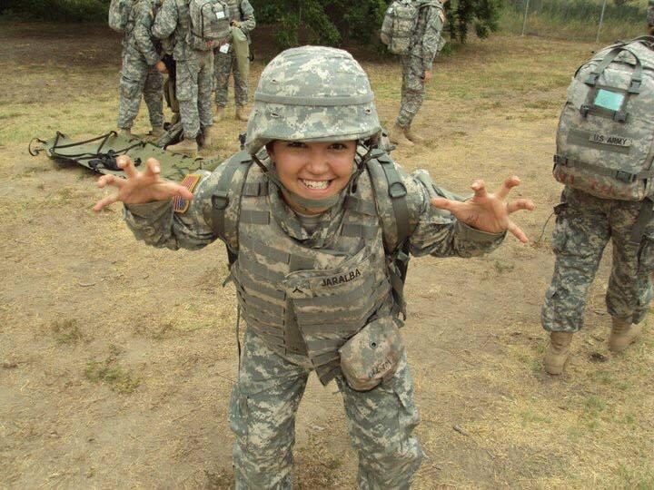 Lexy April Jaralba during her time as an Army Medic