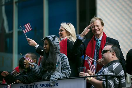Scott and Lin Higgins at the 2015 New York Veterans Day Parade