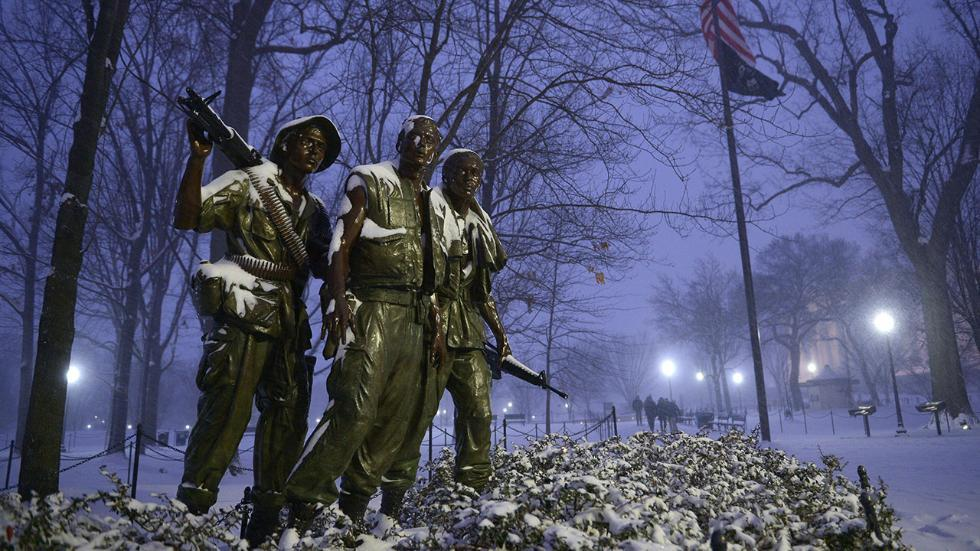 The Three Soldiers Statue Covered in Snow from Hurricane Jonas