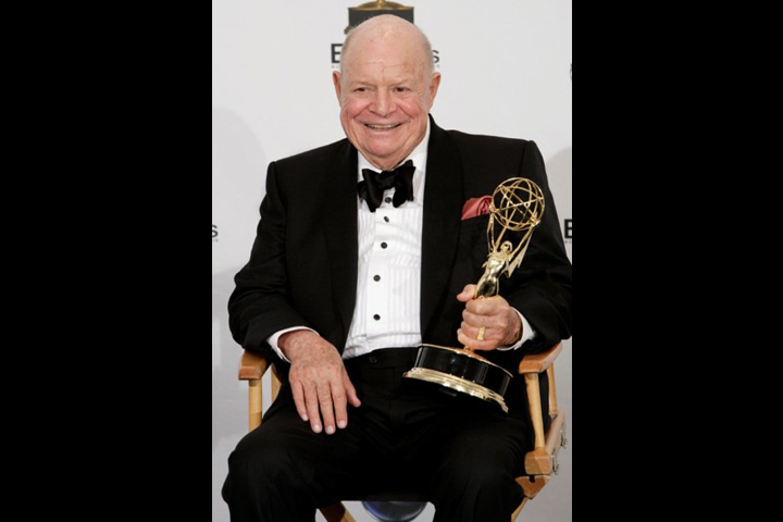 "Don Rickles displays the Emmy he received in 2008 for Outstanding Individual Performance in a Variety, Music or Comedy Special for his work in ""Mr. Warmth: The Don Rickles Project."