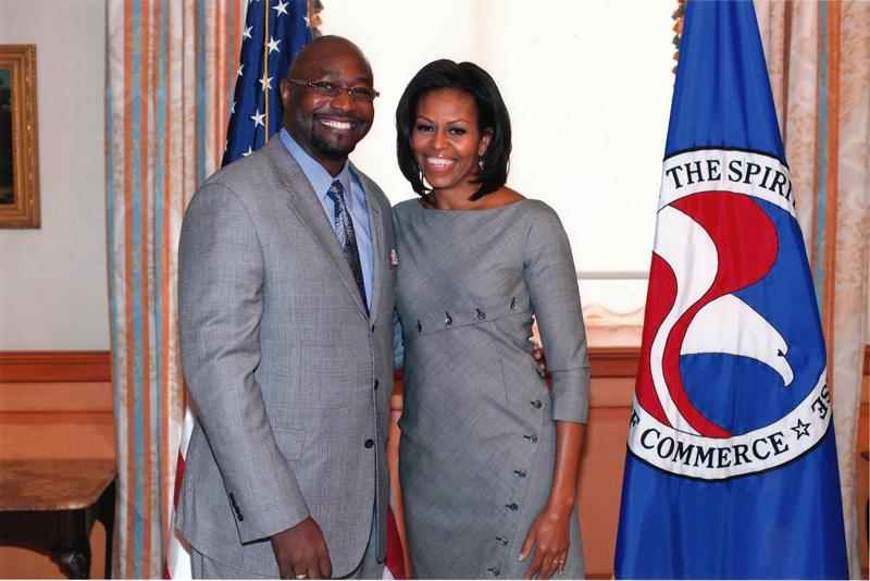 David Casey with Michelle Obama