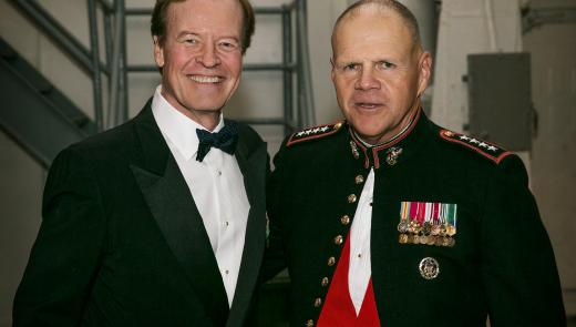 Veterans Advantage co-founder and CEO Scott Higgins (left), seen here with Marine Corps Commandant Gen. Robert Neller at the Marine Corps Birthday Gala on the U.S.S. Intrepid in New York City.