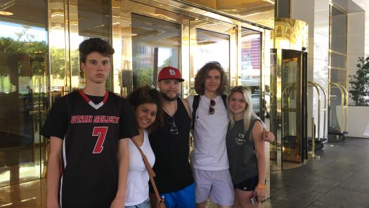 Derek Irog and his family enjoying their Las Vegas vacation