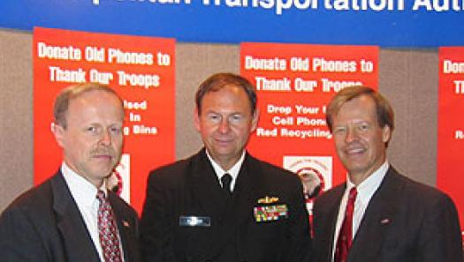 (Left to right) TopVet Chris Boylan left, Captain Barton Buechner, USNR, representing Employer Support of the Guard and Reserves (ESGR), And Veterans Advantage founder Scott Higgins. Photo taken at the September launch of Recycle & Reward across major New York City Transportation hubs.