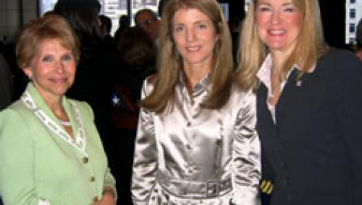 USO Woman of the Year Shari Redstone takes a moment with fellow Kennedy Museum Board member Caroline Kennedy and Veterans Advantage COO Lin Higgins