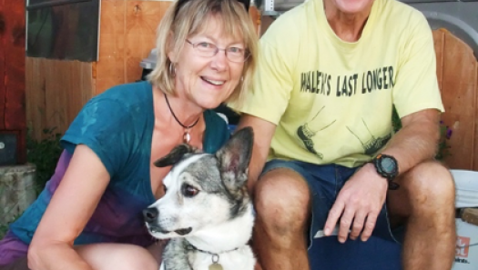 Linda Ranweiler and her husband and dog