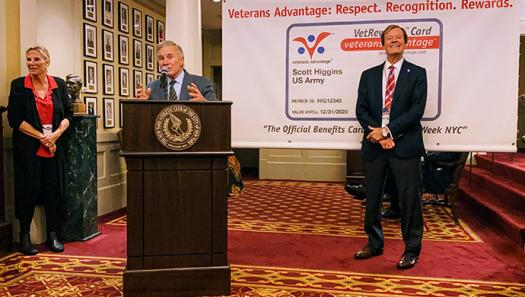 """Medal of Honor Recipient, and Veterans Advantage Board member Paul W. Bucha addresses """"Heroes Meet Heroes"""" about the importance of sports and military service"""