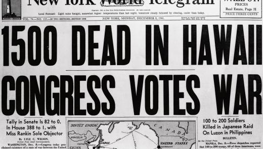 1941 Newspaper with Pearl Harbor Headline