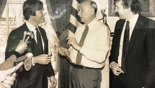 NYC Mayor Ed Koch, Veterans Advantage CEO Scott Higgins, and Donald Trump at a press conference