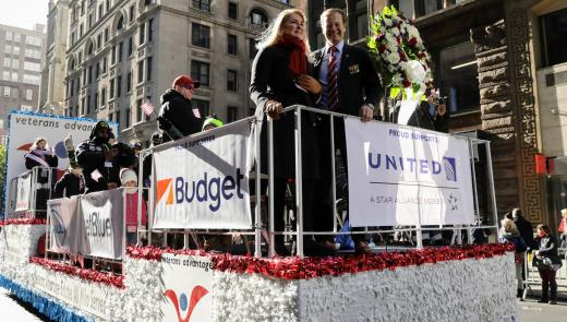 Scott and Lin on the Veterans Day Parade Float